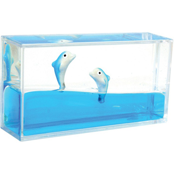 Mini Dolphin Liquid Wave Paperweight